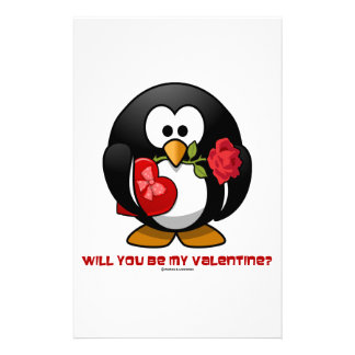 Will You Be My Valentine? (Linux Tux Heart Rose) Stationery