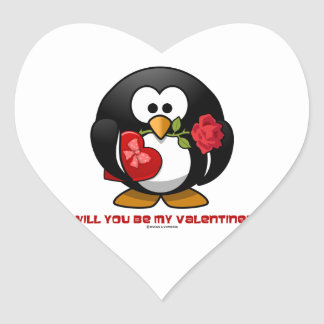 Will You Be My Valentine? (Linux Tux Heart Rose) Stickers