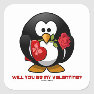 Will You Be My Valentine? (Linux Tux Heart Rose) Square Stickers
