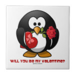 Will You Be My Valentine? (Linux Tux Heart Rose) Tile