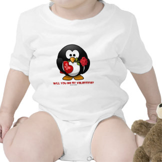 Will You Be My Valentine? (Linux Tux Heart Rose) Baby Bodysuit