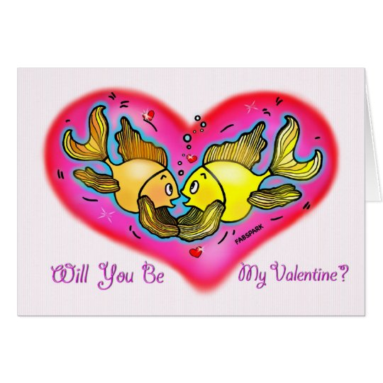 Will you be my Valentine? Love fish holding hands Card