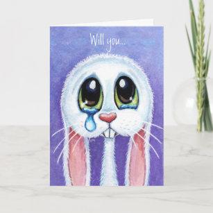 Will you be my Valentine - Sad Bunny Rabbit Card