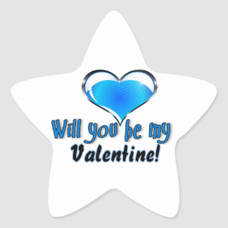 Will you be my Valentine Star Sticker