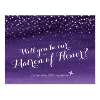Will you be our matron of honor starry sky wedding postcard