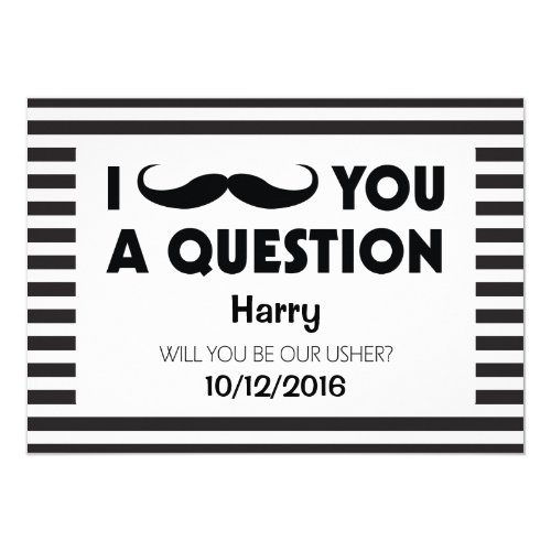 Will You Be Our Usher Moustache Black Stripes Invitation