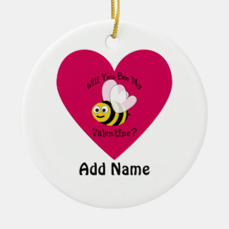 Will You Bee Mine? Red Heart Ceramic Ornament