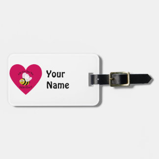 Will You Bee My Valentine? Red Heart Luggage Tag