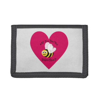 Will You Bee My Valentine? Red Heart Tri-fold Wallets