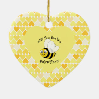 Will You Bee My Valentine? Yellow hearts Ceramic Ornament