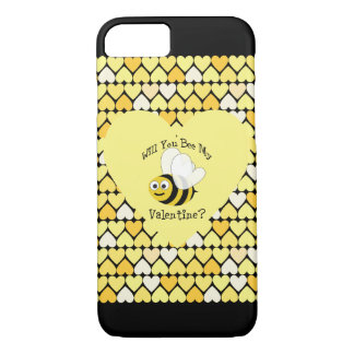 Will You Bee My Valentine? Yellow hearts iPhone 8/7 Case