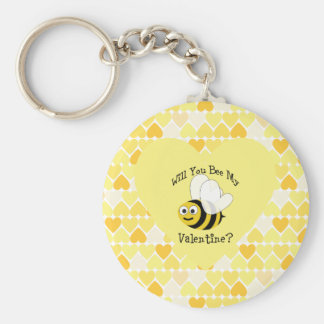 Will You Bee My Valentine? Yellow hearts Keychain