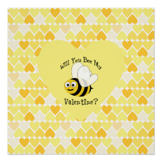 Will You Bee My Valentine? Yellow hearts Perfect Poster