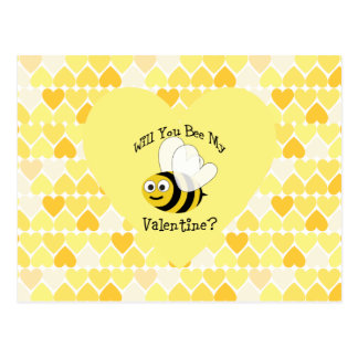 Will You Bee My Valentine? Yellow hearts Postcard