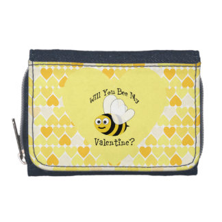 Will You Bee My Valentine? Yellow hearts Wallet
