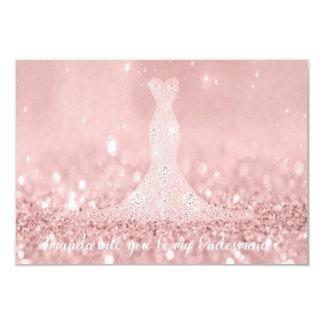 Will You Bridesmaid Glitter Red Bean Diamond Dres Card