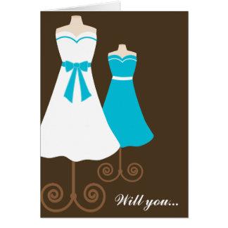 Will you? Cute Blue Dresses Bridemaids Card