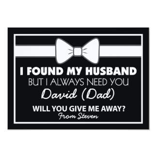 Will You Give Me Away Black/White Bow Tie Card