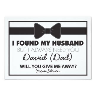 Will You Give Me Away Black/White Bow Tie 4.5x6.25 Paper Invitation Card