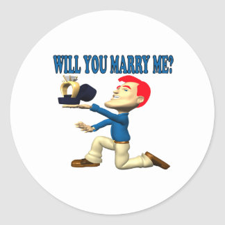 Will You Marry Me 12 Classic Round Sticker