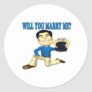 Will You Marry Me 3 Classic Round Sticker