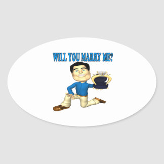 Will You Marry Me 3 Oval Sticker
