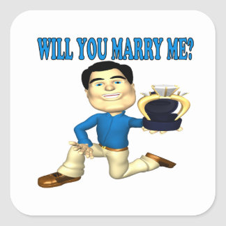 Will You Marry Me 3 Square Sticker