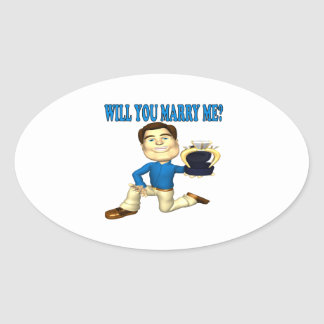 Will You Marry Me 4 Oval Sticker