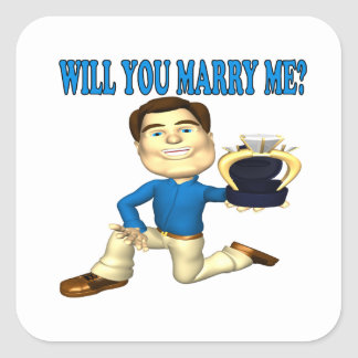 Will You Marry Me 4 Square Sticker