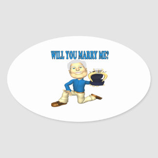 Will You Marry Me 5 Oval Sticker