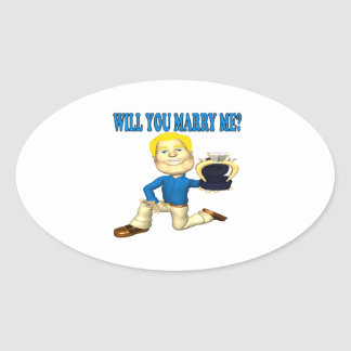 Will You Marry Me 6 Oval Sticker
