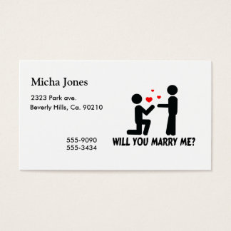 Will You Marry Me Bended Knee Man & Man Business Card