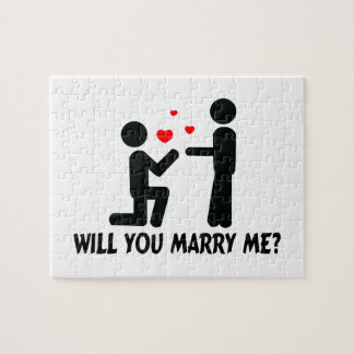 Will You Marry Me Bended Knee Man & Man Jigsaw Puzzle