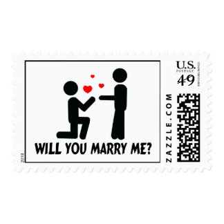 Will You Marry Me Bended Knee Man & Man Postage