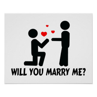 Will You Marry Me Bended Knee Man & Man Poster
