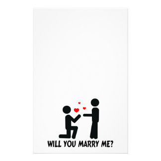 Will You Marry Me Bended Knee Man & Man Stationery