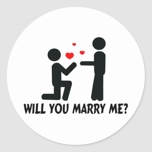 Will you marry me bended knee man amp man sticker zazzle