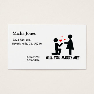 Will You Marry Me Bended Knee Man & Woman Business Card