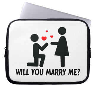 Will You Marry Me Bended Knee Man & Woman Laptop Sleeve