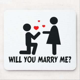Will You Marry Me Bended Knee Man & Woman Mouse Pad