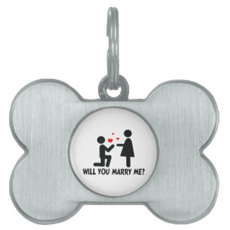 Will You Marry Me Bended Knee Man & Woman Pet ID Tag