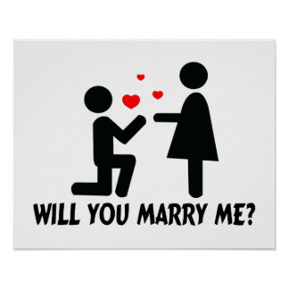 Will You Marry Me Bended Knee Man & Woman Poster