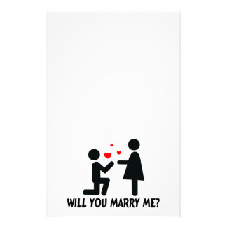 Will You Marry Me Bended Knee Man & Woman Stationery
