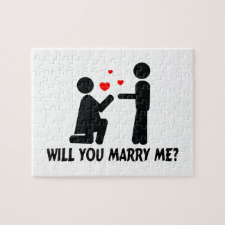 Will You Marry Me Bended Knee Woman & Man Jigsaw Puzzle