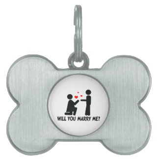 Will You Marry Me Bended Knee Woman & Man Pet Name Tags