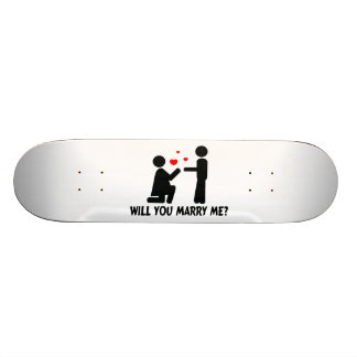 Will You Marry Me Bended Knee Woman & Man Skateboard