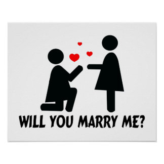 Will You Marry Me Bended Knee Woman & Woman Poster