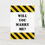 "[ Thumbnail: ""Will You Marry Me?"" + Black and Yellow Stripes Card ]"