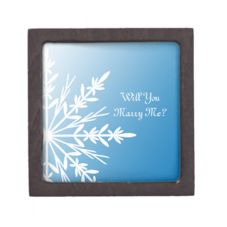 Will You Marry Me Blue Snowflake Ring Box