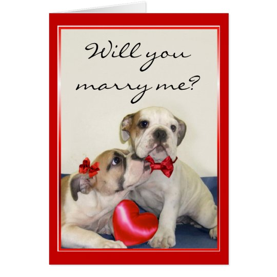 Will You Marry Me Bulldogs greeting card